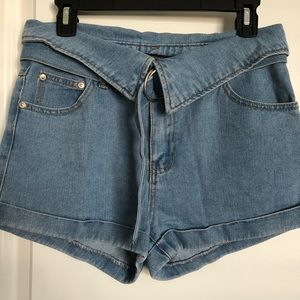 Collared Denim Shorts